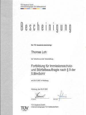 Immissionsschutz Besch Dipl Ingenieur FH Thomas Loh Beratender Ingenieur vdi